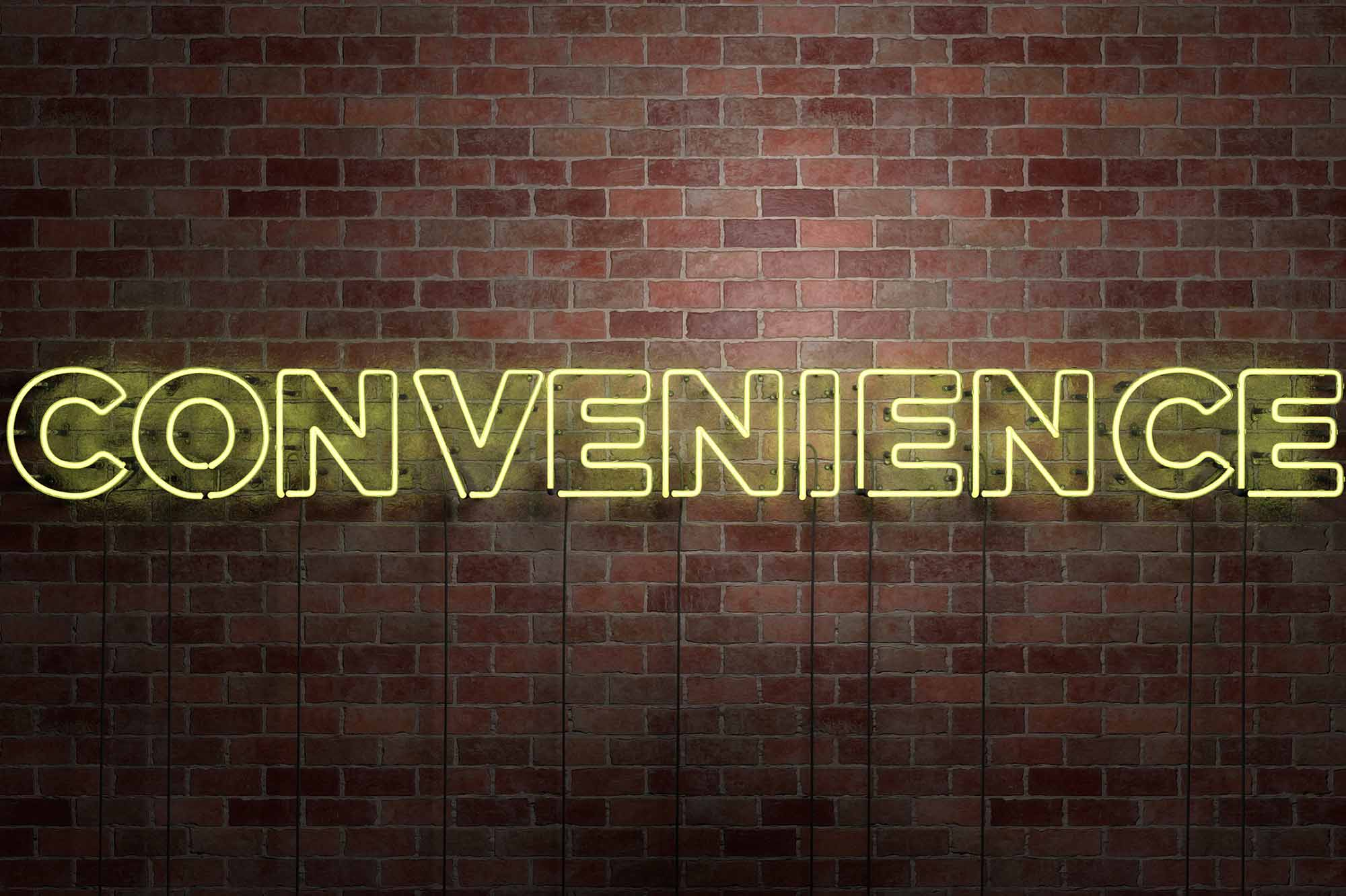 CONVENIENCE - fluorescent Neon tube Sign on brickwork