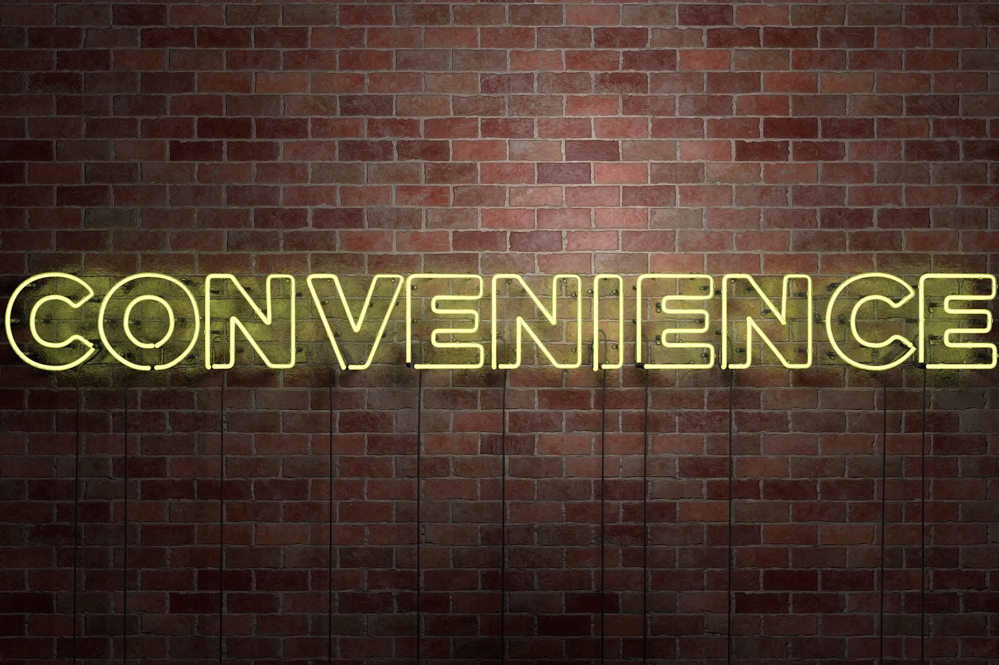 CONVENIENCE - fluorescent Neon tube Sign on brickwork