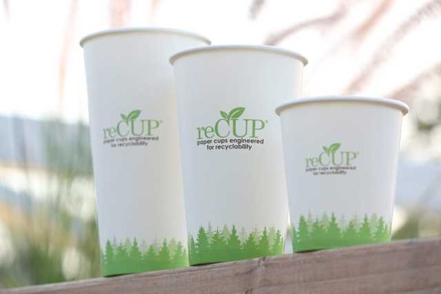 reCUP branded coffee cups