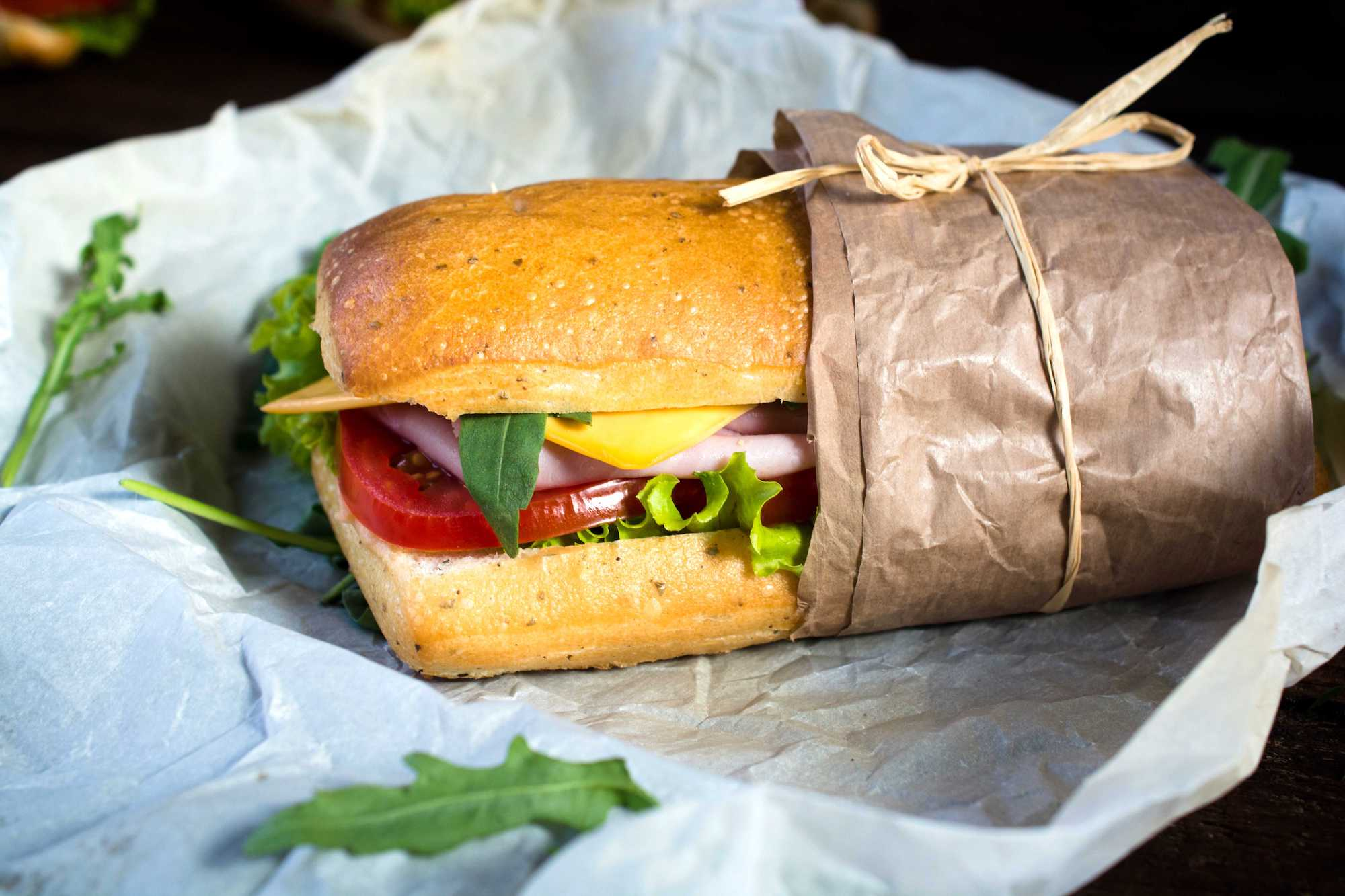 tastefully wrapped sandwich